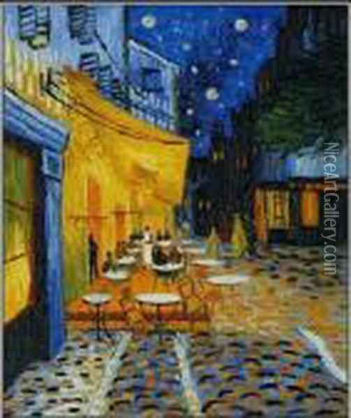 Cafe Terrace At Night Oil Painting - Vincent Van Gogh