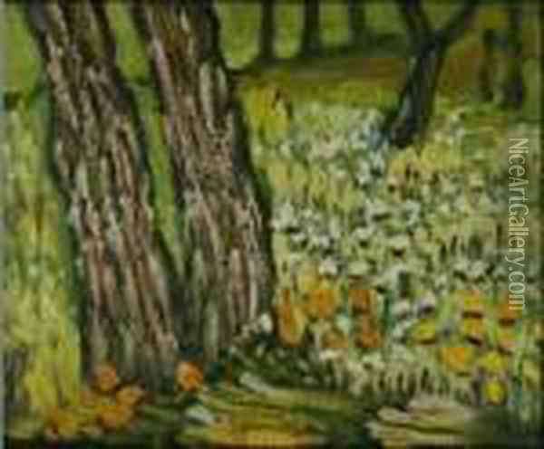 Pine Trees And Dandelions In The Garden Of St. Paul Hospital Oil Painting - Vincent Van Gogh