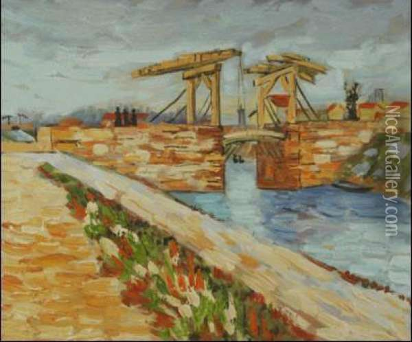 Langlois Bridge At Arles With Road Alongside The Canal Oil Painting - Vincent Van Gogh