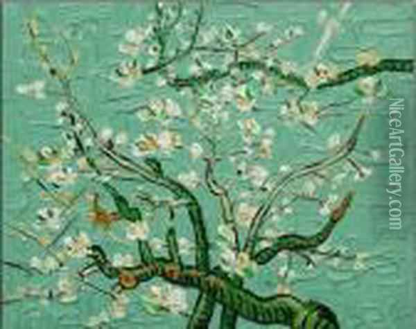 Branches Of An Almond Tree In Blossom Oil Painting - Vincent Van Gogh