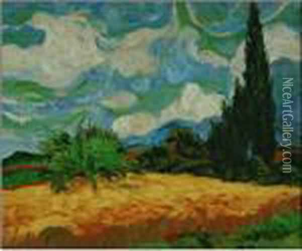 Wheat Field With Cypresses Oil Painting - Vincent Van Gogh
