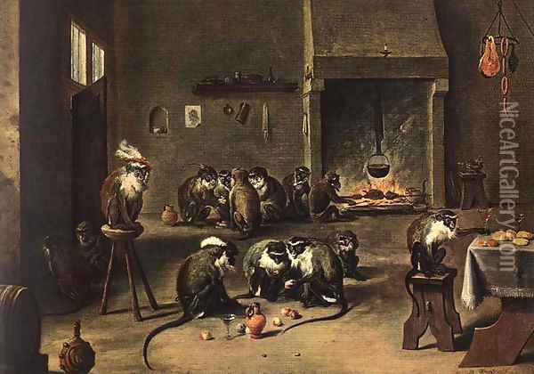 Apes in the Kitchen Oil Painting - David The Younger Teniers