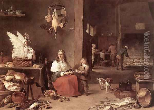 Kitchen Scene 1644 Oil Painting - David The Younger Teniers