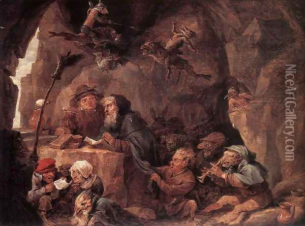 Temptation of St Anthony Oil Painting - David The Younger Teniers