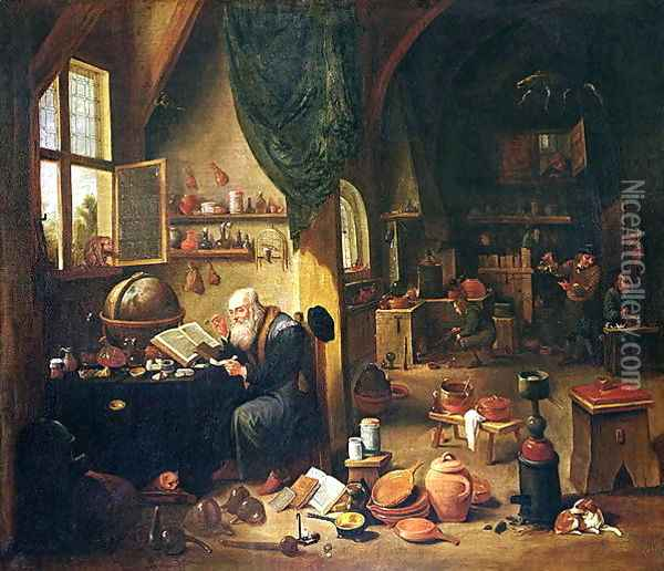 An Alchemist in his Workshop Oil Painting - David The Younger Teniers