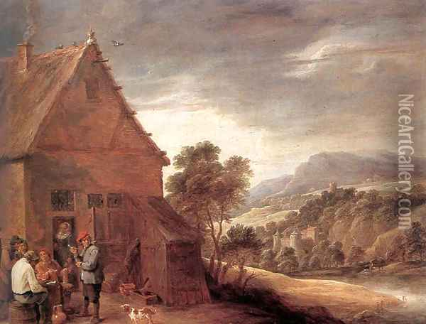 Before the Inn Oil Painting - David The Younger Teniers