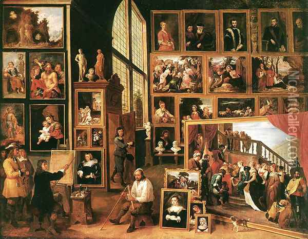 The Gallery of Archduke Leopold in Brussels 1639 Oil Painting - David The Younger Teniers