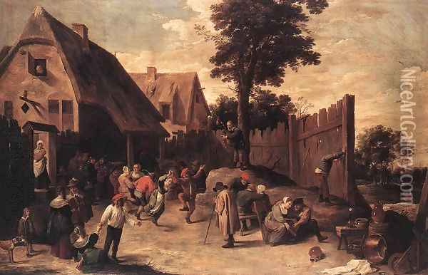 Peasants Dancing outside an Inn 1645-50 Oil Painting - David The Younger Teniers
