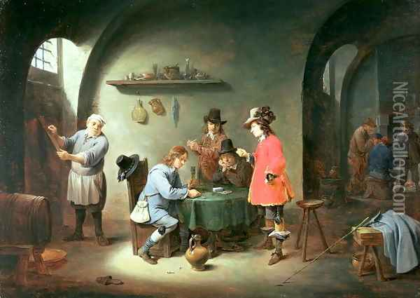 Gambling Scene at an Inn, late 1640s Oil Painting - David The Younger Teniers