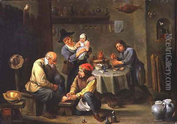 Surgeon Tending the Foot of an Old Man Oil Painting - David The Younger Teniers