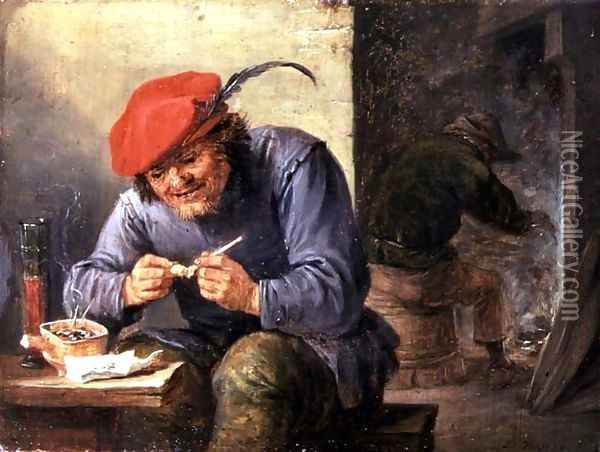 Seated Peasant Filling a Pipe Oil Painting - David The Younger Teniers