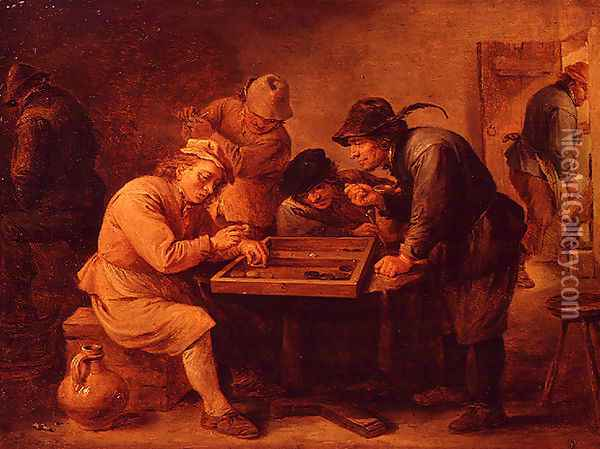 A Game of Tric-Trac Oil Painting - David The Younger Teniers