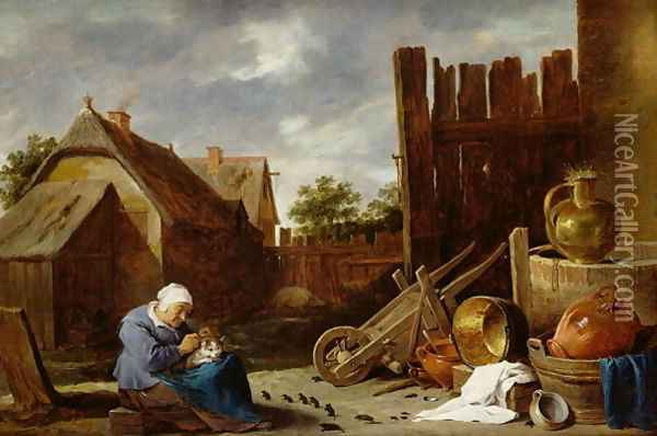 A cat tended by an old woman Oil Painting - David The Younger Teniers