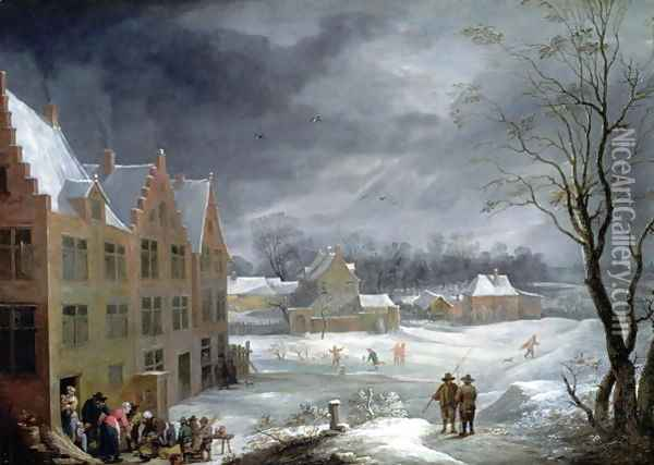Winter Scene with a Man Killing a Pig Oil Painting - David The Younger Teniers