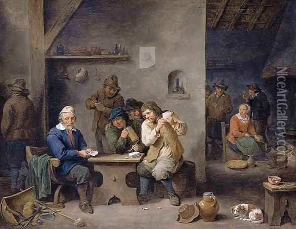 Figures Gambling in a Tavern 1670 Oil Painting - David The Younger Teniers