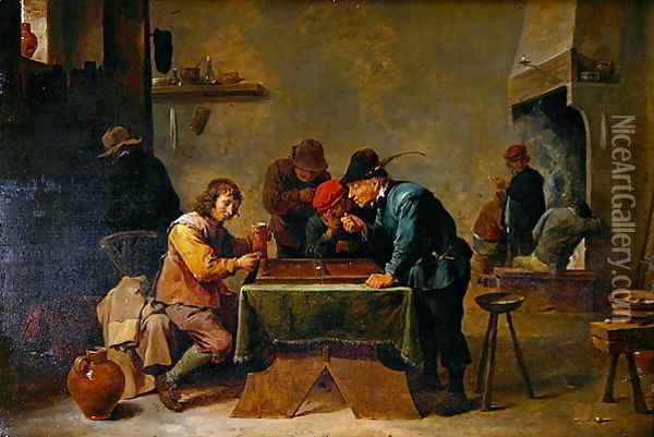 Backgammon Players, c.1640-45 Oil Painting - David The Younger Teniers