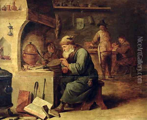 An Alchemist Oil Painting - David The Younger Teniers