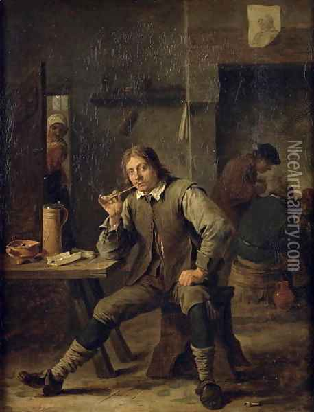 A Smoker Leaning on a Table, 1643 Oil Painting - David The Younger Teniers