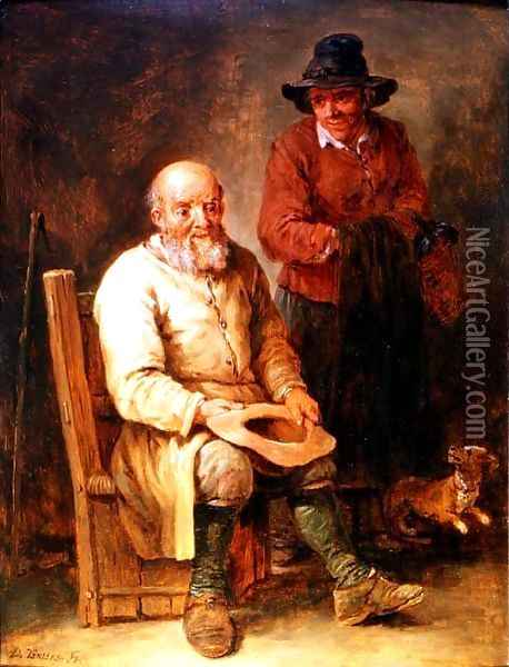 A man seated with a woman by his side and a dog at their feet Oil Painting - David The Younger Teniers