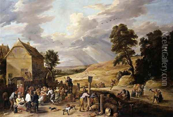 Peasants Dancing outside an Inn 1660s Oil Painting - David The Younger Teniers