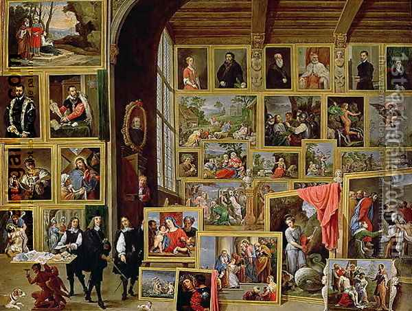 The Picture Gallery of Archduke Leopold Wilhelm 1614-62 in Brussels Oil Painting - David The Younger Teniers