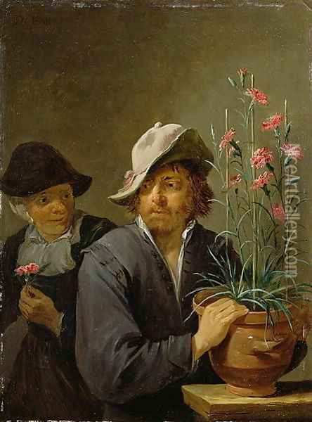 The Five Senses Series- Smelling Oil Painting - David The Younger Teniers