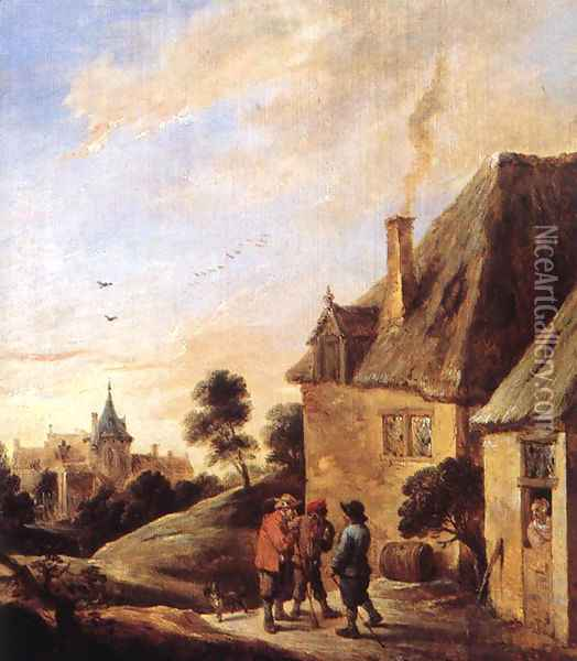 Village Scene (2) Oil Painting - David The Younger Teniers