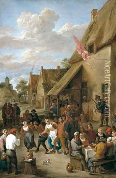 A Village Kermese with Peasants Merrymaking Oil Painting - David The Younger Teniers