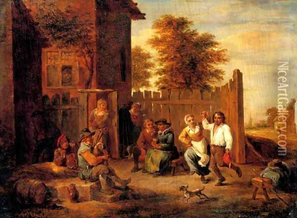 Peasants merrying outside an inn Oil Painting - David The Younger Teniers