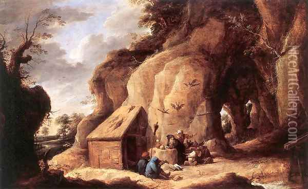 The Temptation of St Anthony after 1640 Oil Painting - David The Younger Teniers