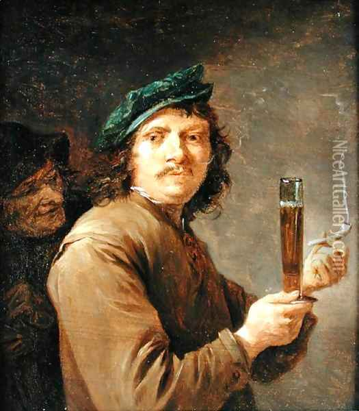 Man Holding a Pipe and a Glass of Beer Oil Painting - David The Younger Teniers