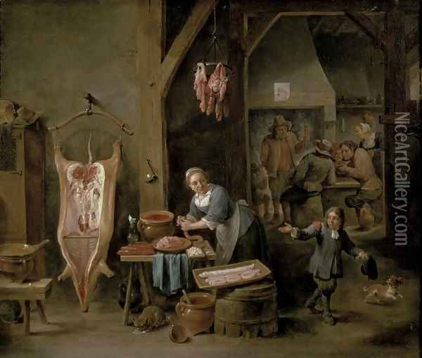 Sausage-making, 1651 Oil Painting - David The Younger Teniers