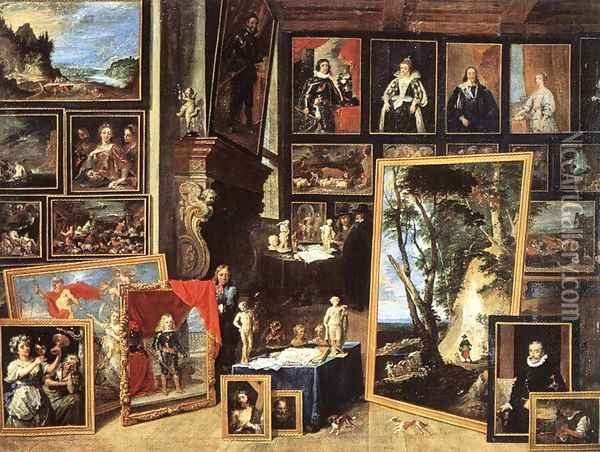 The Gallery of Archduke Leopold in Brussels 1641 Oil Painting - David The Younger Teniers