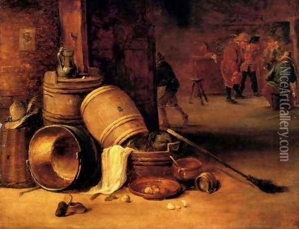 An interior scene with pots, barrels, baskets, onions and cabbages with boors carousing in the background Oil Painting - David The Younger Teniers