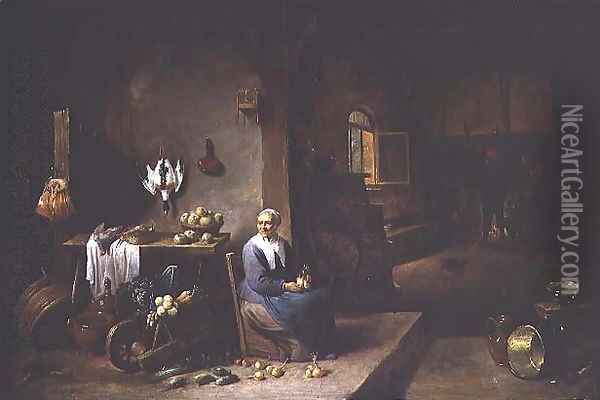 Interior of a Peasant Dwelling Oil Painting - David The Younger Teniers