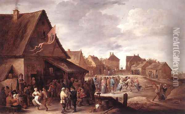 Village Feast Oil Painting - David The Younger Teniers