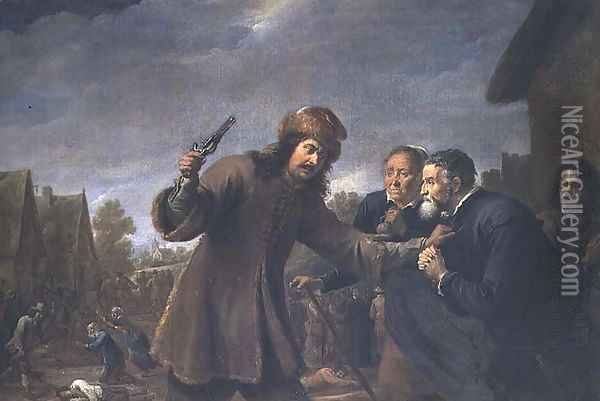 Attack on a Village, 1648 Oil Painting - David The Younger Teniers
