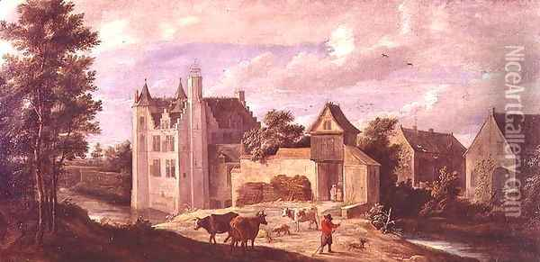 View of a Chateau Oil Painting - David The Younger Teniers
