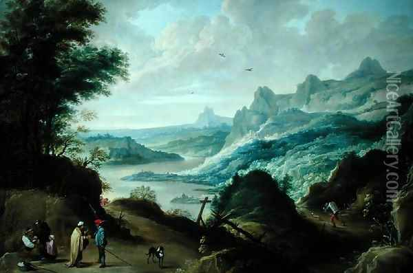 Gypsies and a Fortune Teller in a River Landscape Oil Painting - David The Younger Teniers