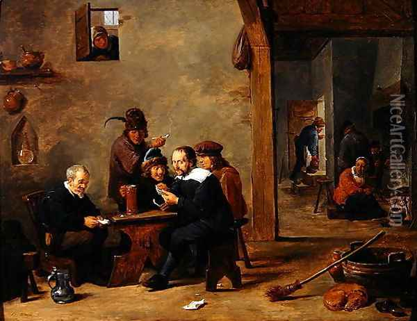 The Card Players Oil Painting - David The Younger Teniers
