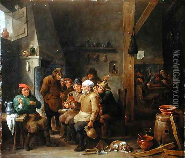 Interior of a tavern Oil Painting - David The Younger Teniers