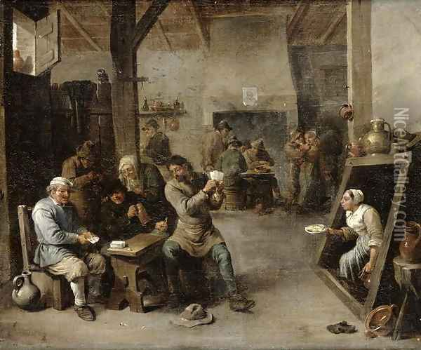 The Card Players 2 Oil Painting - David The Younger Teniers