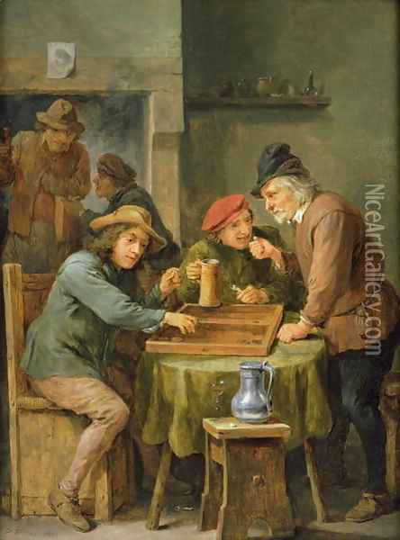 The Game of Backgammon, 1670 Oil Painting - David The Younger Teniers