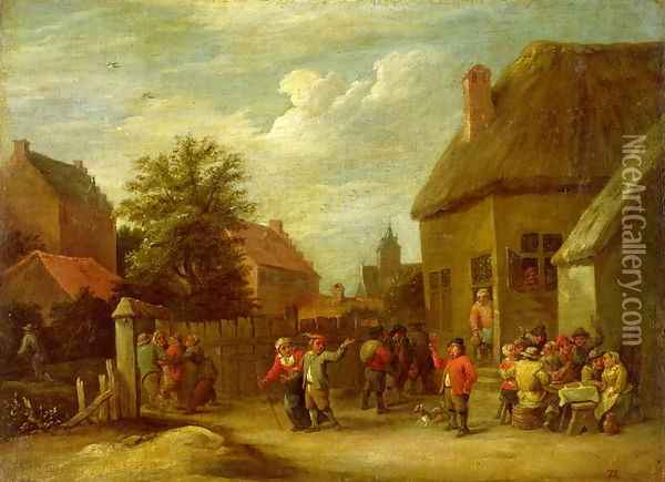 The courtyard of a village inn with a man toasting departing revellers Oil Painting - David The Younger Teniers