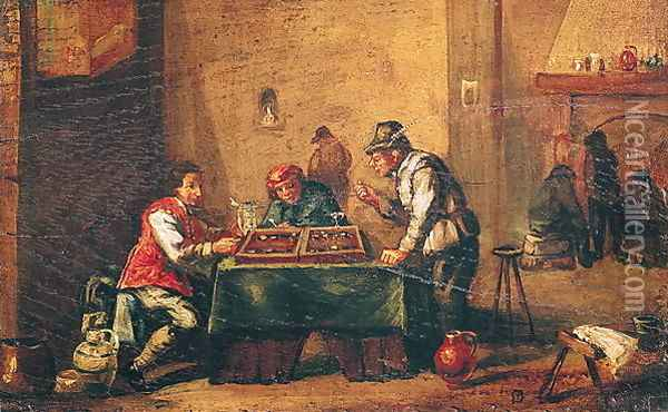 Men Playing Backgammon in a Tavern Oil Painting - David The Younger Teniers
