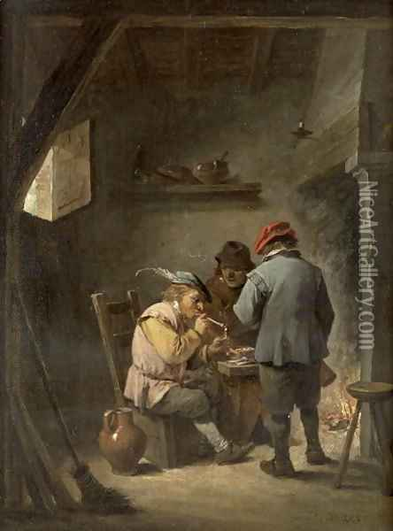 Peasants by an Inn Fire Oil Painting - David The Younger Teniers