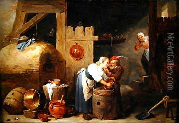 Interior scene with a young woman scrubbing pots while an old man makes advances, c.1644-45 Oil Painting - David The Younger Teniers