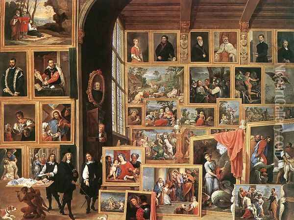 The Gallery of Archduke Leopold in Brussels 1640 Oil Painting - David The Younger Teniers
