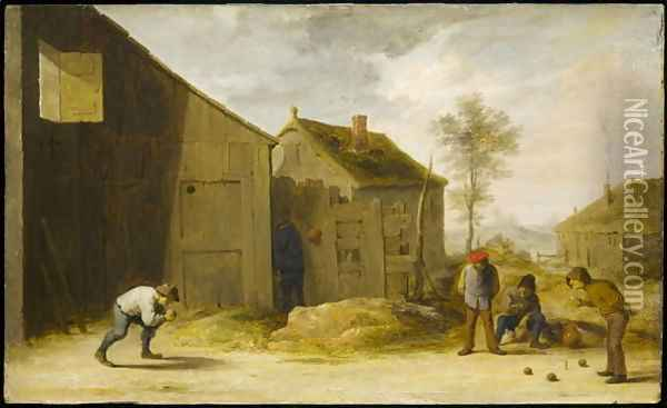 Peasants Playing Bowls Oil Painting - David The Younger Teniers