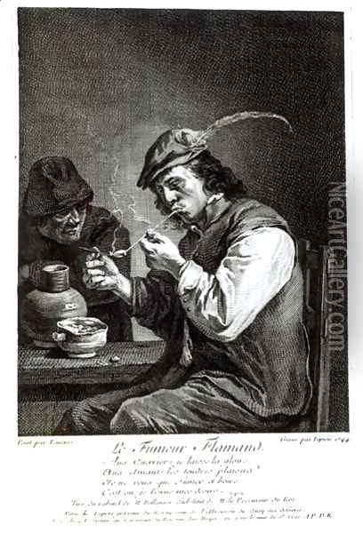 The Flemish Smoker, engraved by Francois Bernard Lepicie 1698-1755, 1744 Oil Painting - David The Younger Teniers